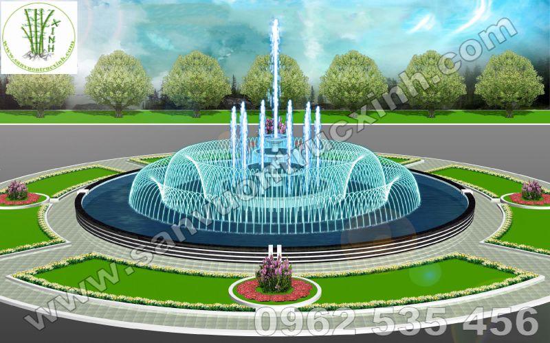 Bản Phối 3D Đài Phun Nước Trung Tâm