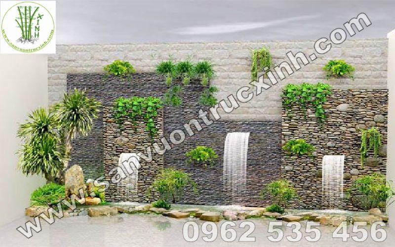 Tường thác kết hợp trồng cây trang trí