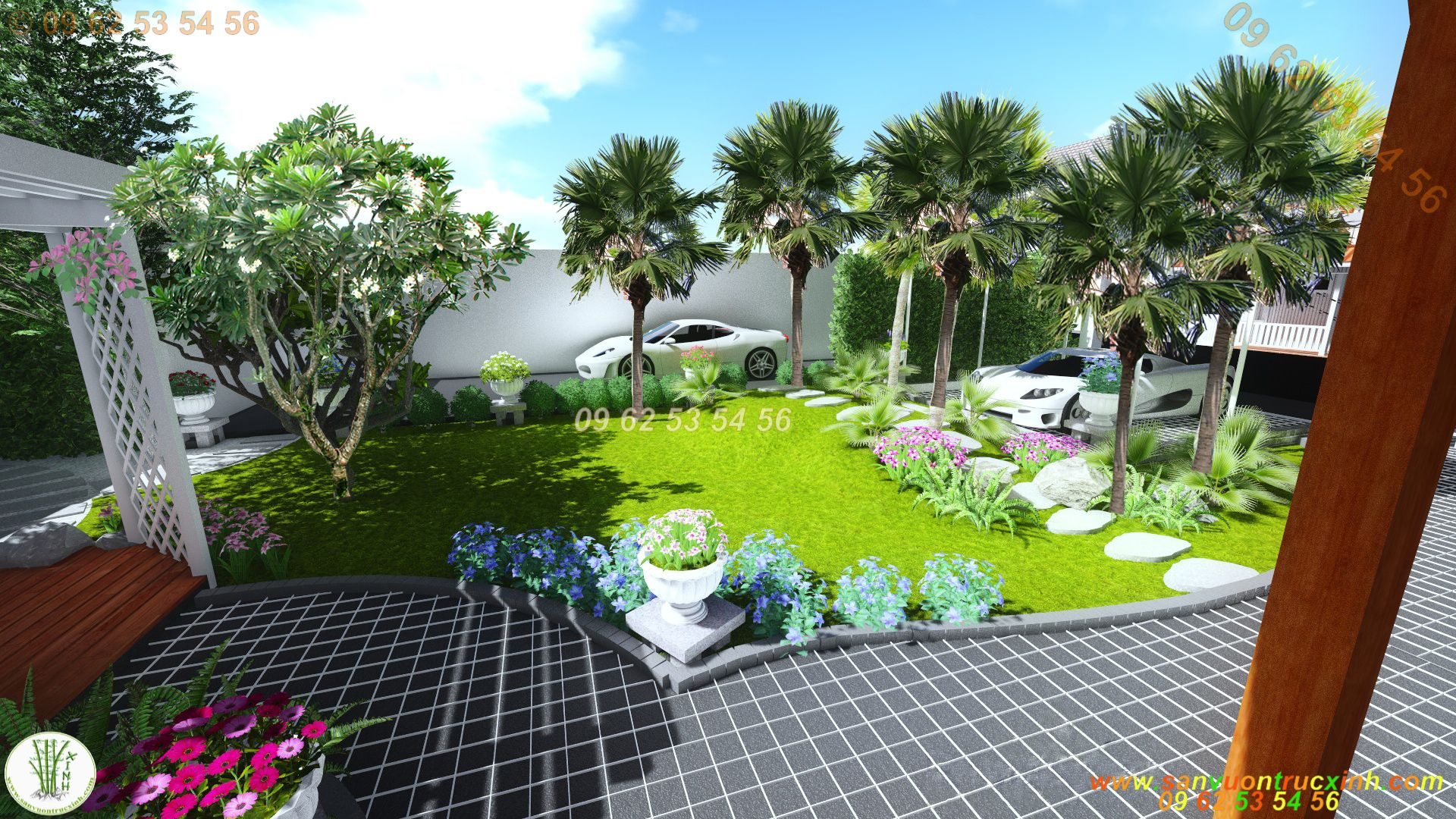 Sân vườn biệt thự đơn giản nhiều cây bóng mát