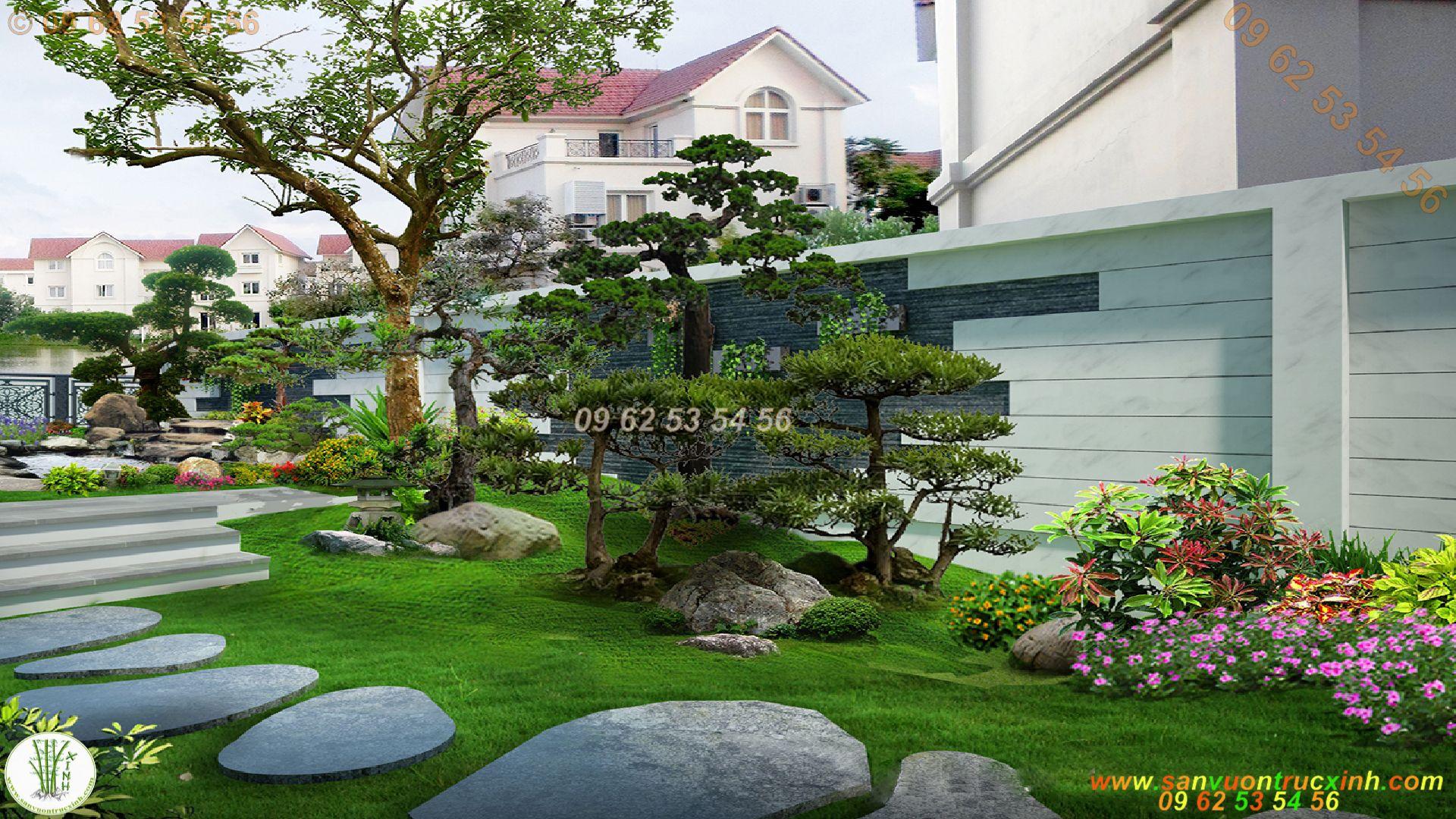 Sân vườn biệt thự hiện đại nhiều màu xanh